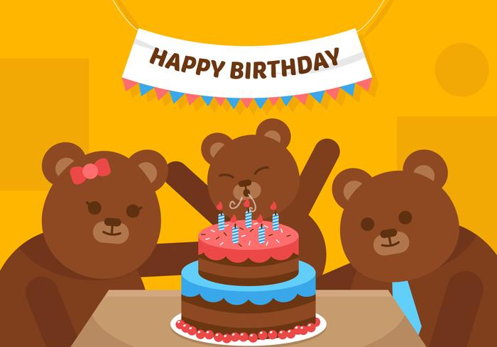Vector First Birthday Bear
