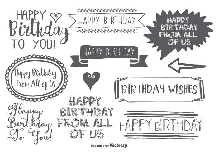 Conjunto de etiquetas de cumpleaños de estilo dibujado a mano vector