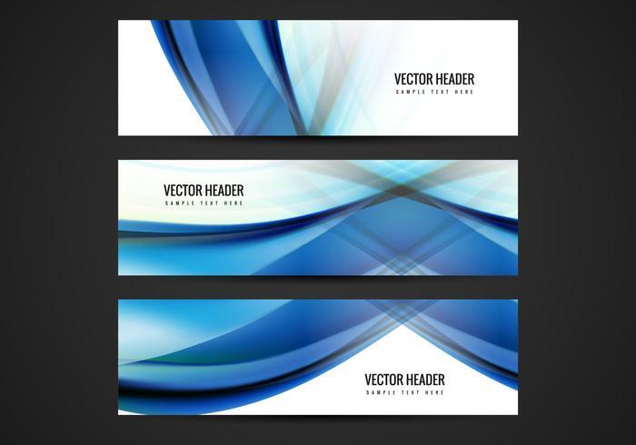 Free Blue Wave Vector Header