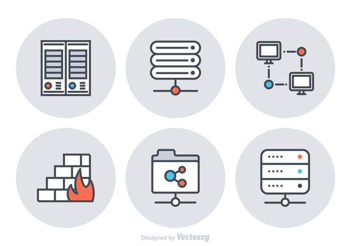 Free Server Flat Line Vector Icons