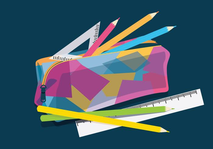 Pencil Case Colorful Vector