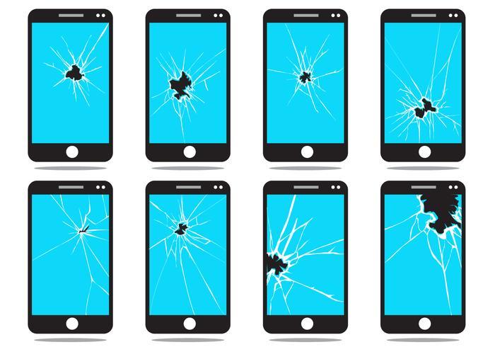 Conjunto de vector de pantalla de teléfono roto