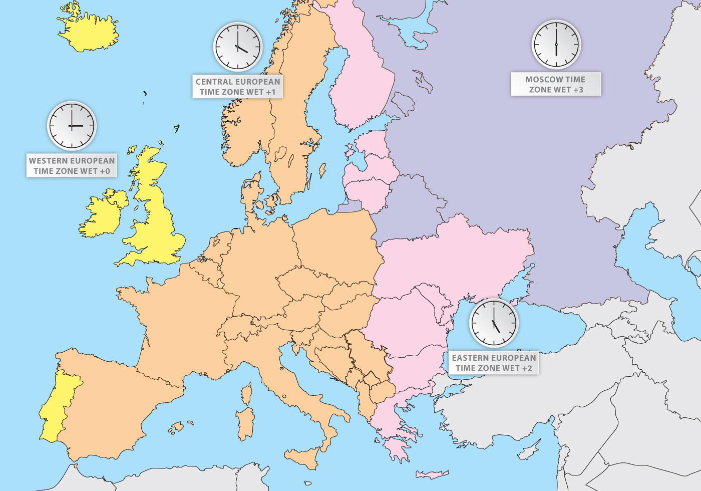 Karta Europa Tidszoner.Tidssoner I Europa Europe Map Vector Ladda Ner Gratis Vektorgrafik