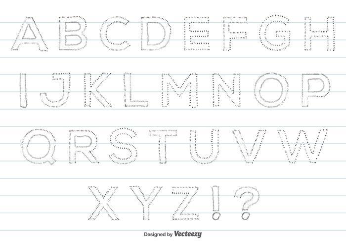Conjunto de alfabeto de estilo desenhado à mão