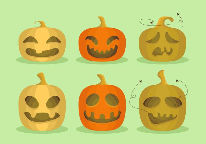 Pumpkins Halloween Cartoon Funny Vector Illustration