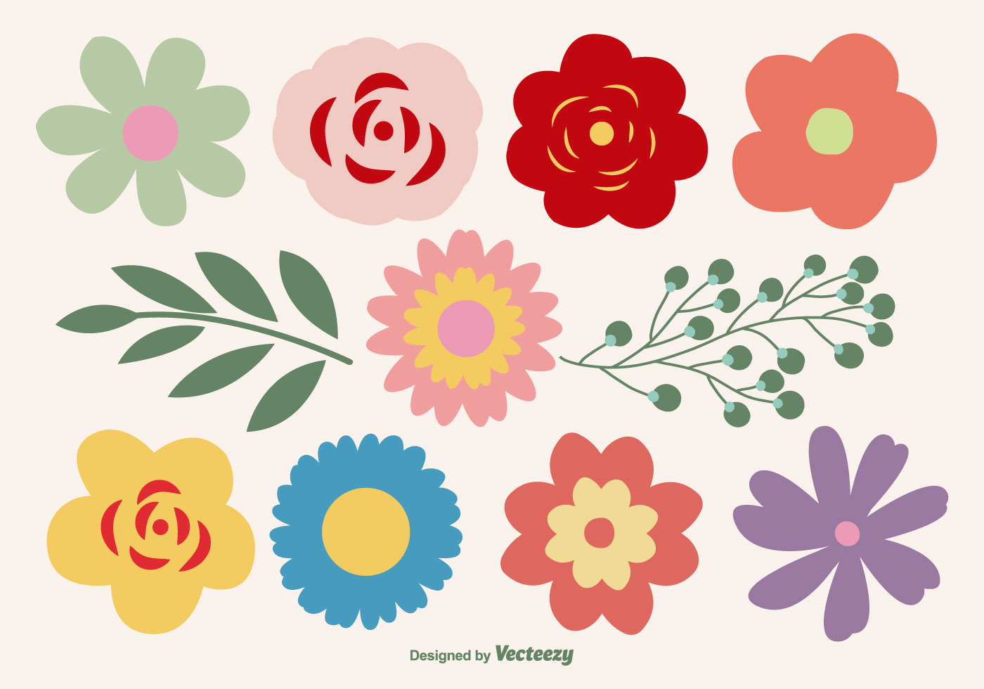 Cute Flower Shapes Set - Download Free Vector Art, Stock Graphics ...