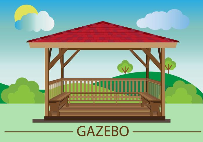 Gazebo Flat Design vector