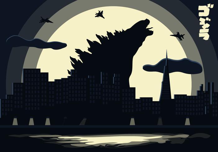Godzilla Landscape Background Illustration Vector