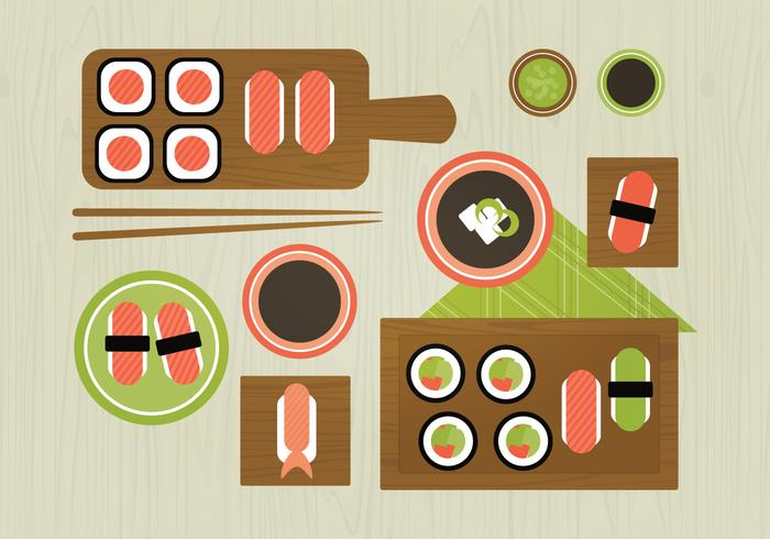 Vektor Sushi Mat Illustration