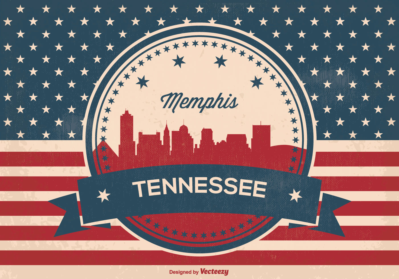 memphis tennessee skyline illustration