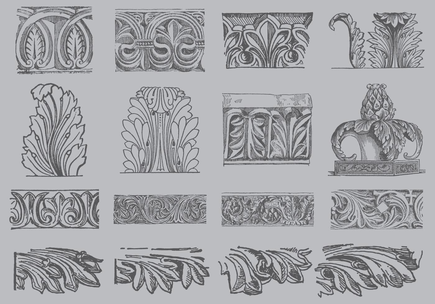Acanthus ornament vectors download free vector art for Acanthus decoration