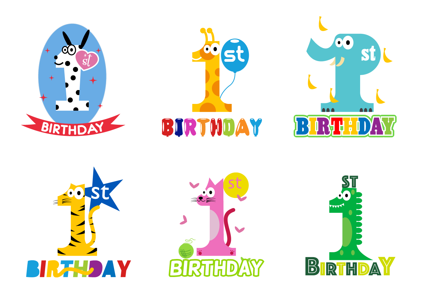 Free 1st Birthday Vector Download Free Vector Art Stock