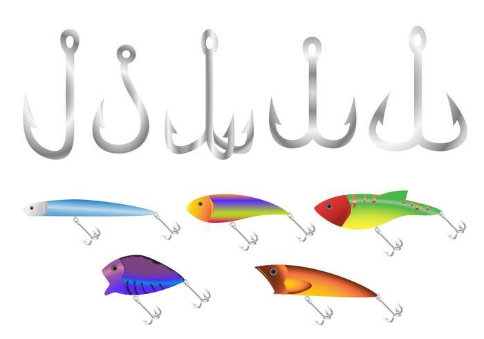 Plast fiskbete krok vektorer