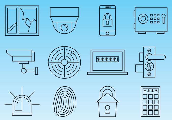 Iconos de línea de seguridad