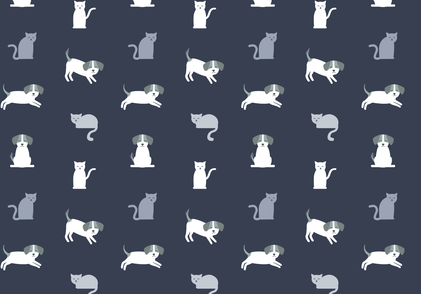 Cat And Dog Winter Vector