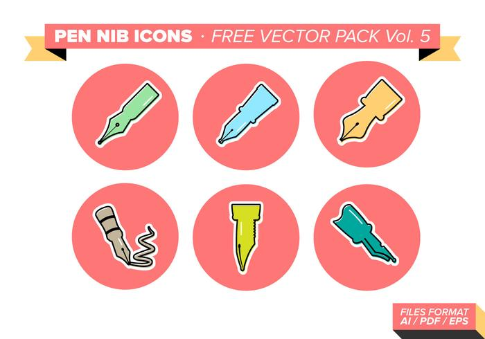 Pen Nib Icons Free Vector Pack Vol. 5