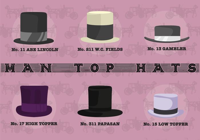 Man Top Hats Vector