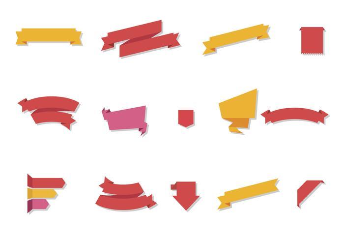 Gratis Flat Ribbon Vector Set