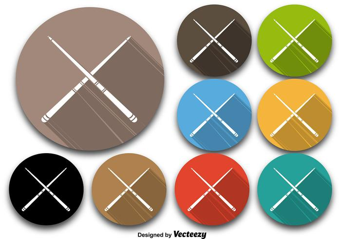 Colorful Pool Sticks Vector Icons