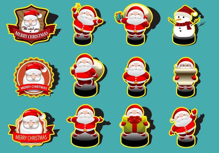 Santa Cute Sticker Collection Vectors