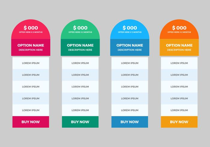 Free Pricing Table Vector Download Free Vector Art