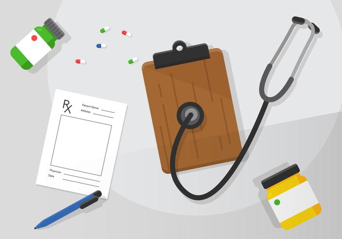 Vector Prescription Pad and Doctor Items
