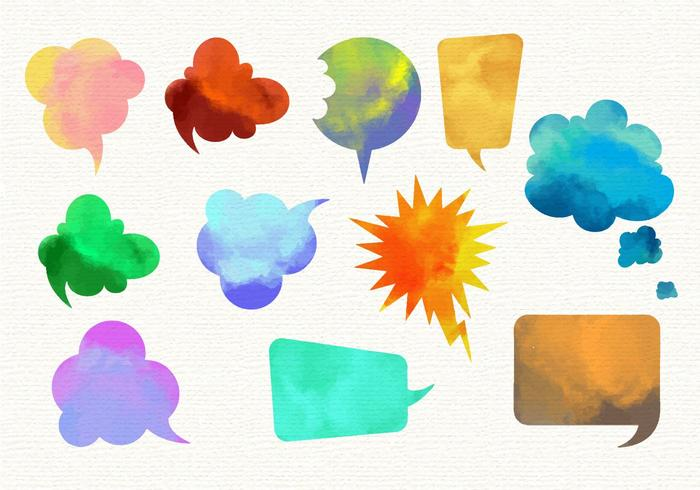 Free Watercolor  Imessage Vector Set