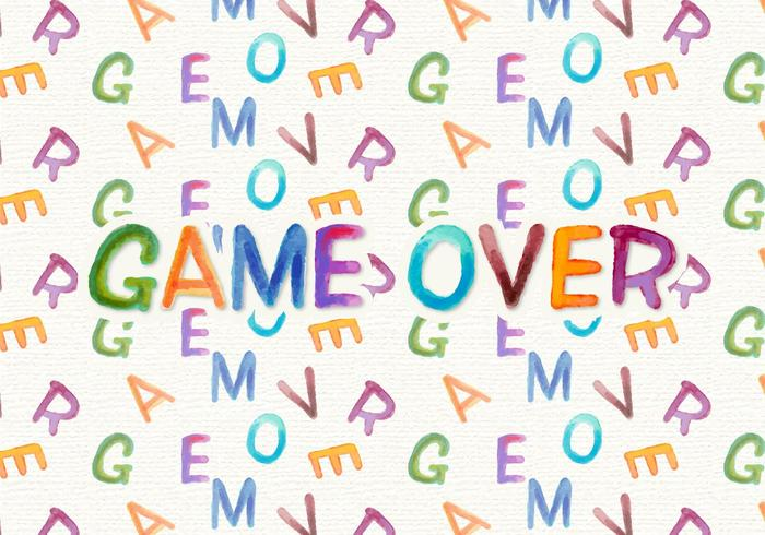 Game Over Free Watercolor Vector Background