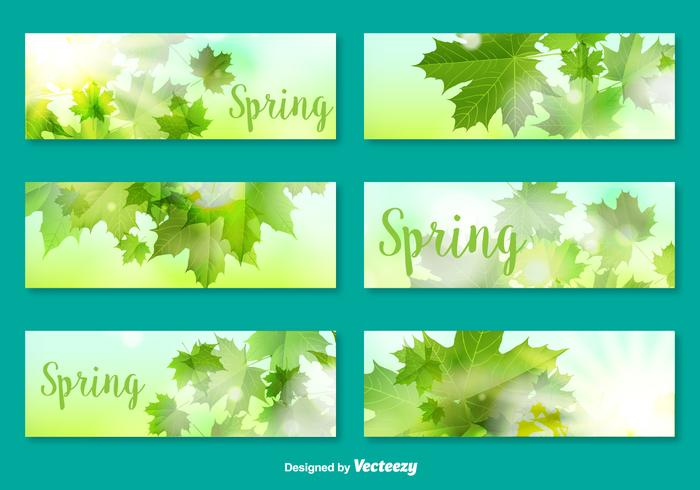 Vector Banners/Cards With Decorative Leaves For Spring Season
