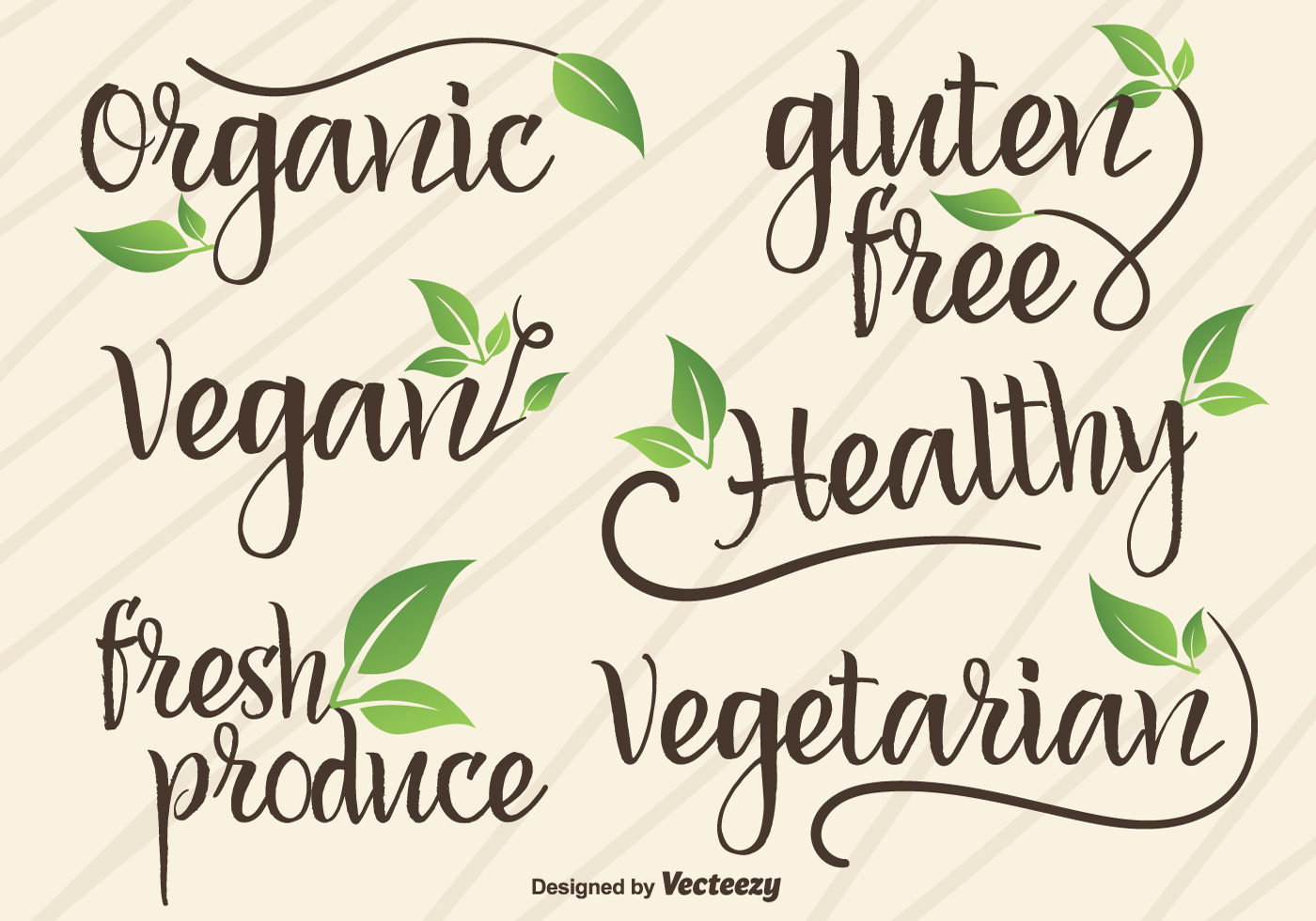 Vector hand written signs logotypes of vegan and organic for De signs