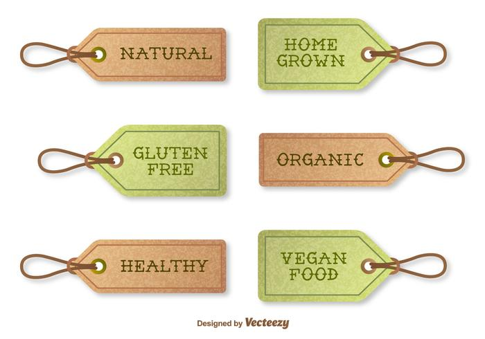 Vector Textured Tags Indicating Organic Food