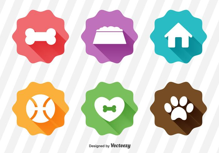 White Flat Puppy Icons Set With Long Shadows