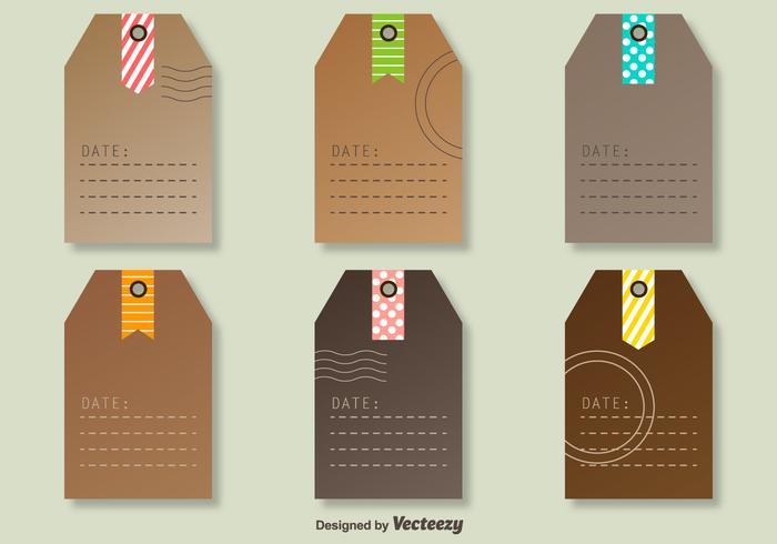 Tags vectoriels avec des marques de poste décoratives