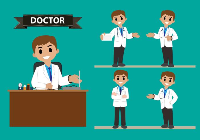 Male Doctor Character Vector Set