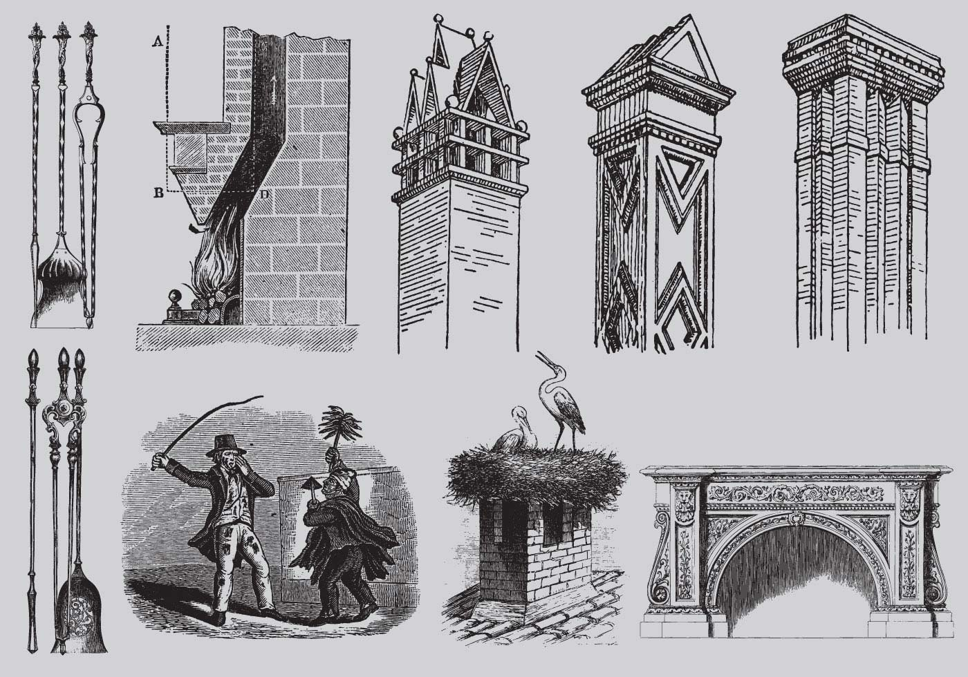 Old Style Drawing Chimneys Download Free Vector Art