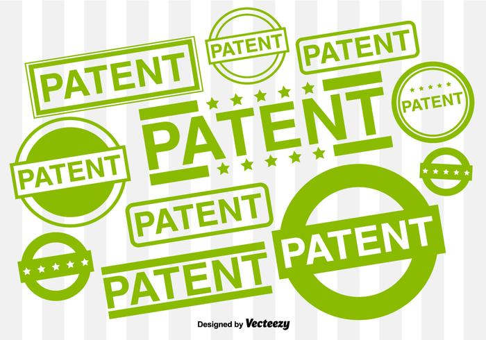 Vector Set Of Patented Rubber Stamps
