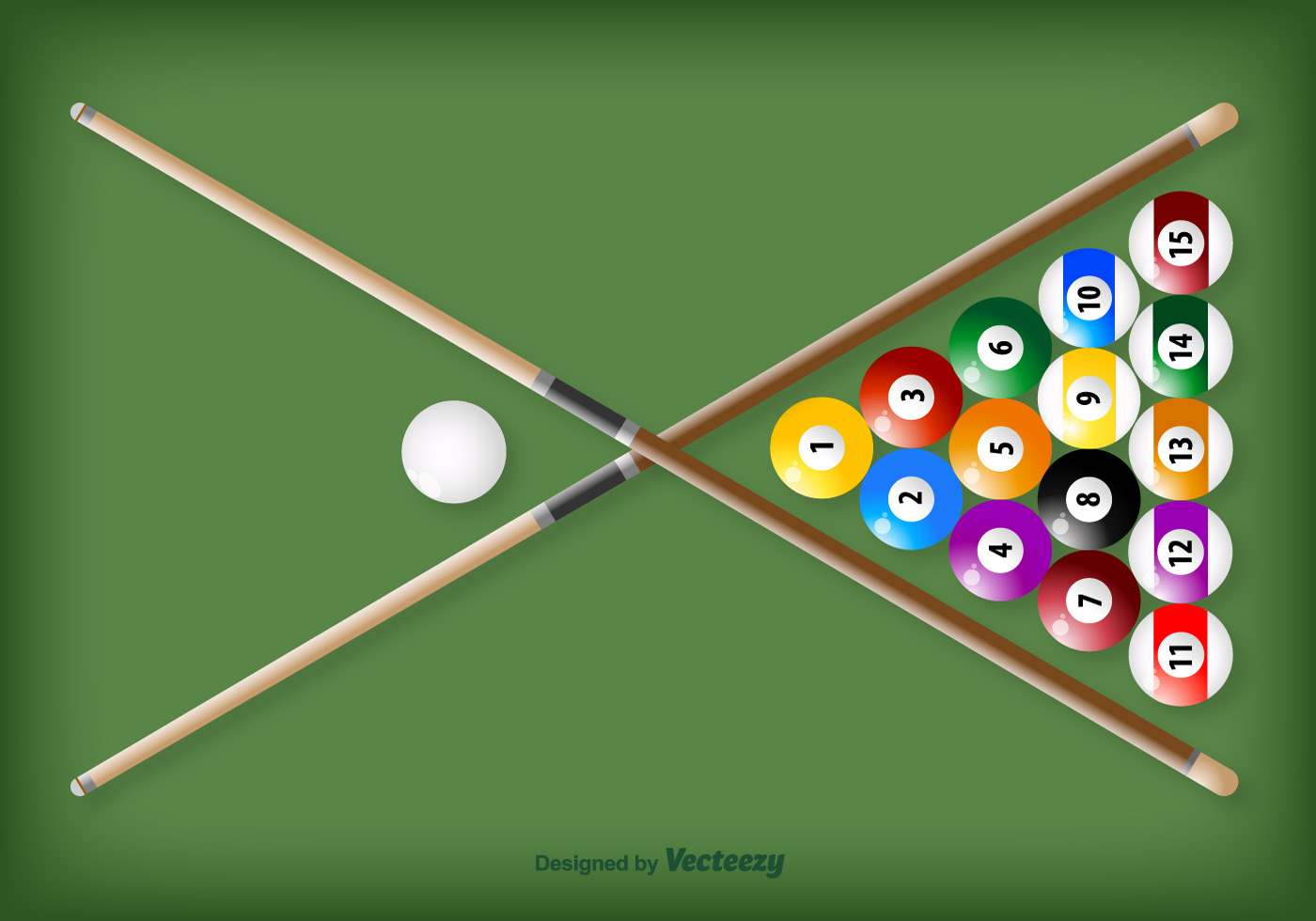 Vector Crossed Pool Sticks And Balls Download Free Vector Art Stock