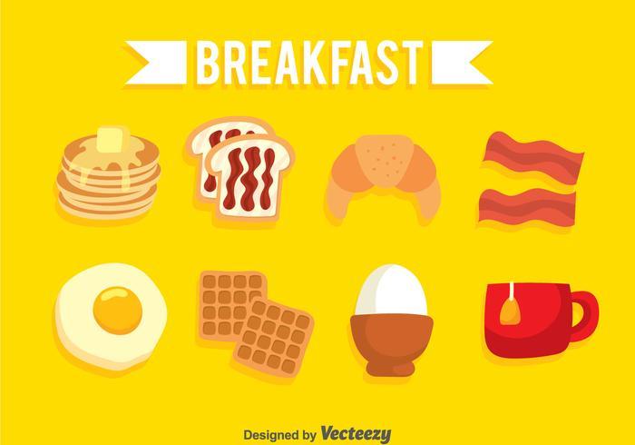 Ensemble d'icônes de petit-déjeuner vecteur