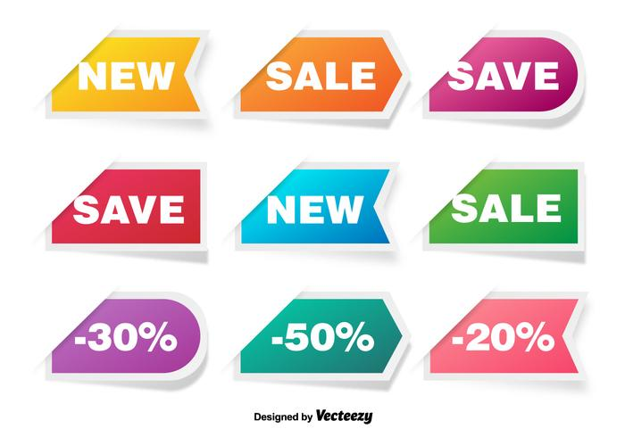 Colorful Discount Labels Vector Set