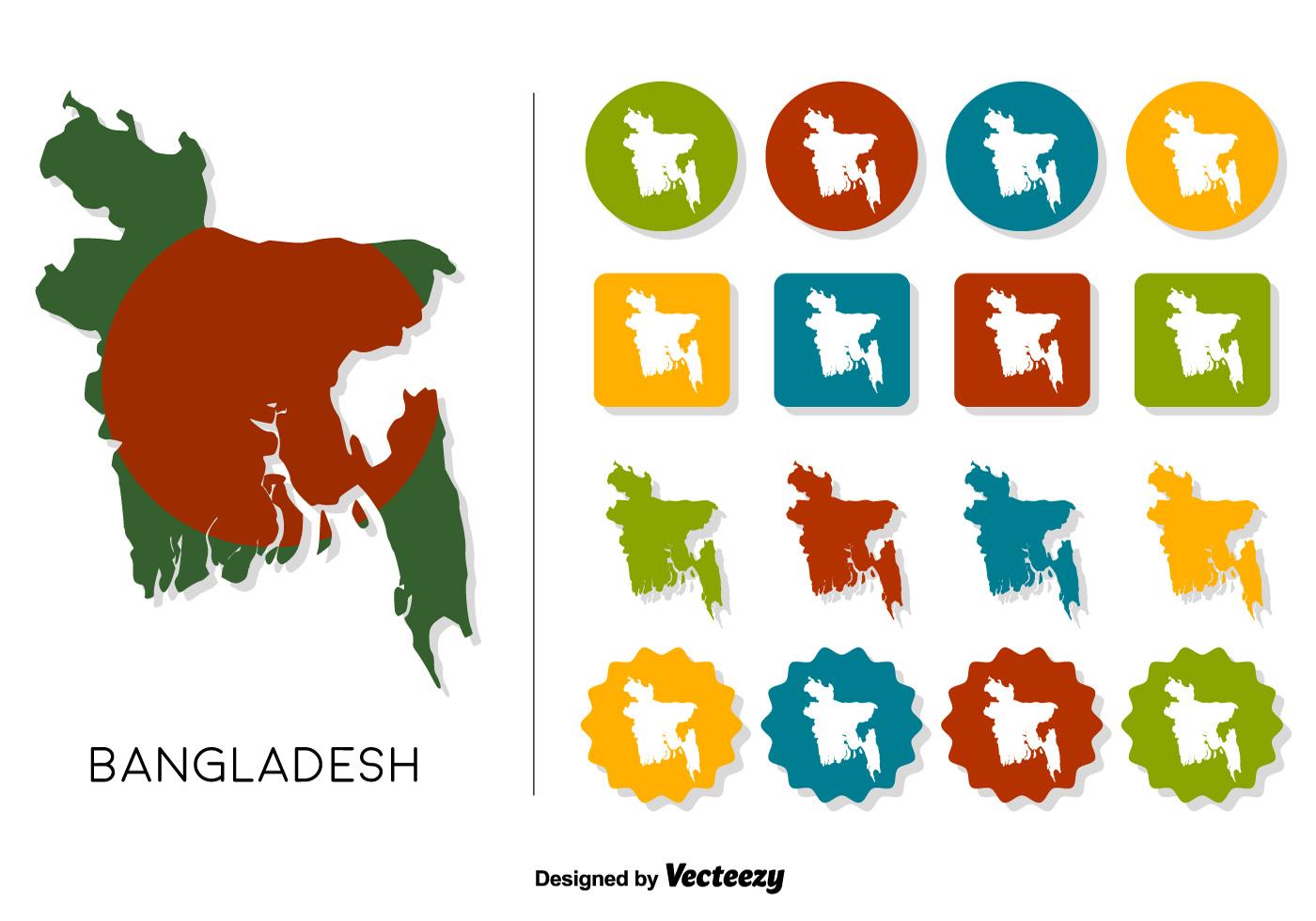 Free Maps And Flags Icons: Vector Bangladesh Map With Bangladesh Flag And Icons Set