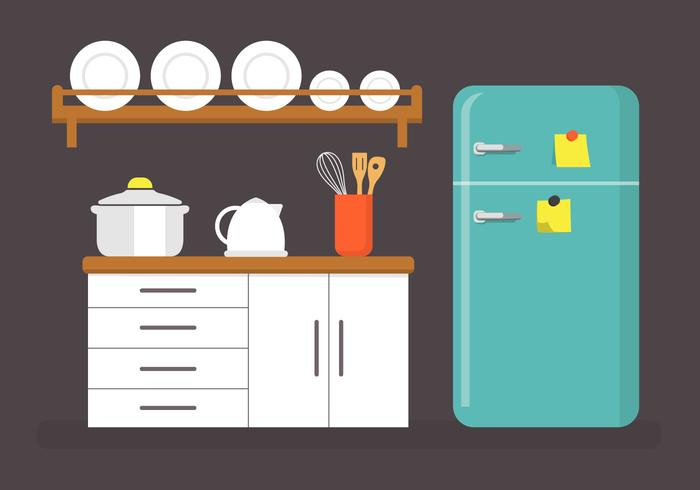 Flat Kitchen Vector Illustration