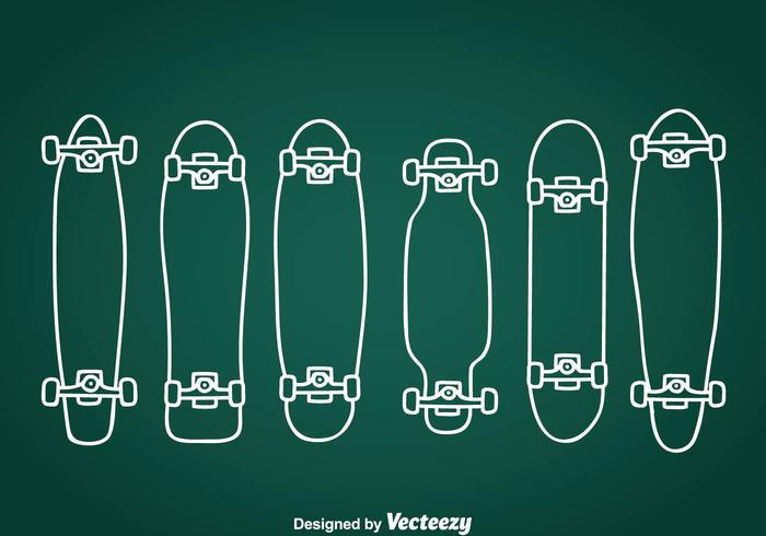 Longboard Hand Drawn Icons vector