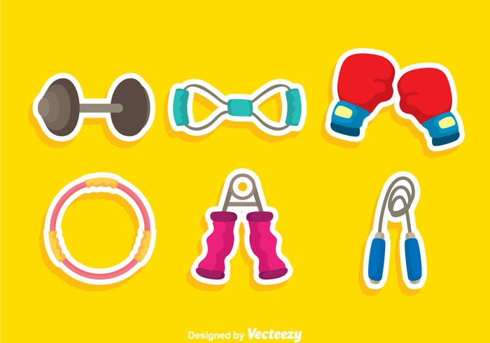 Exercise Equipment Colors Icons vector