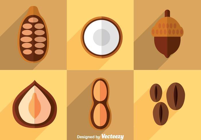 Nuts Flat Icons Vector