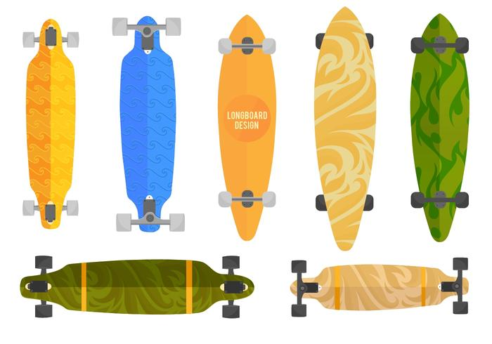 Free Vector Longboard Set