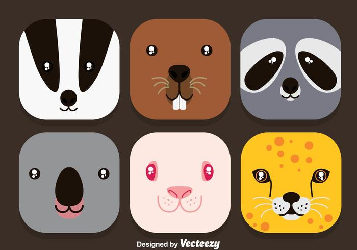 Animal Face Colorful Icons Vector