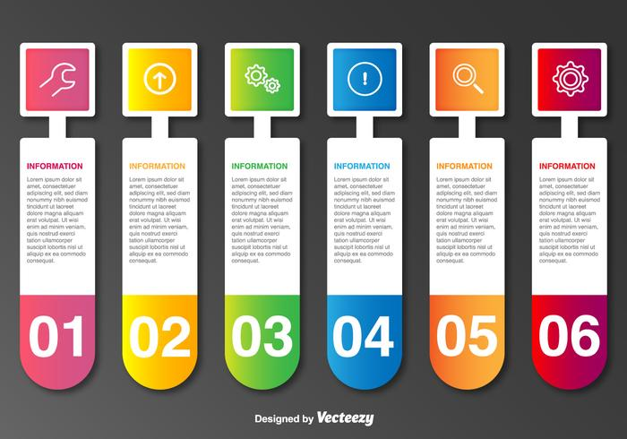 Vector Labels With Icons And 6 Steps