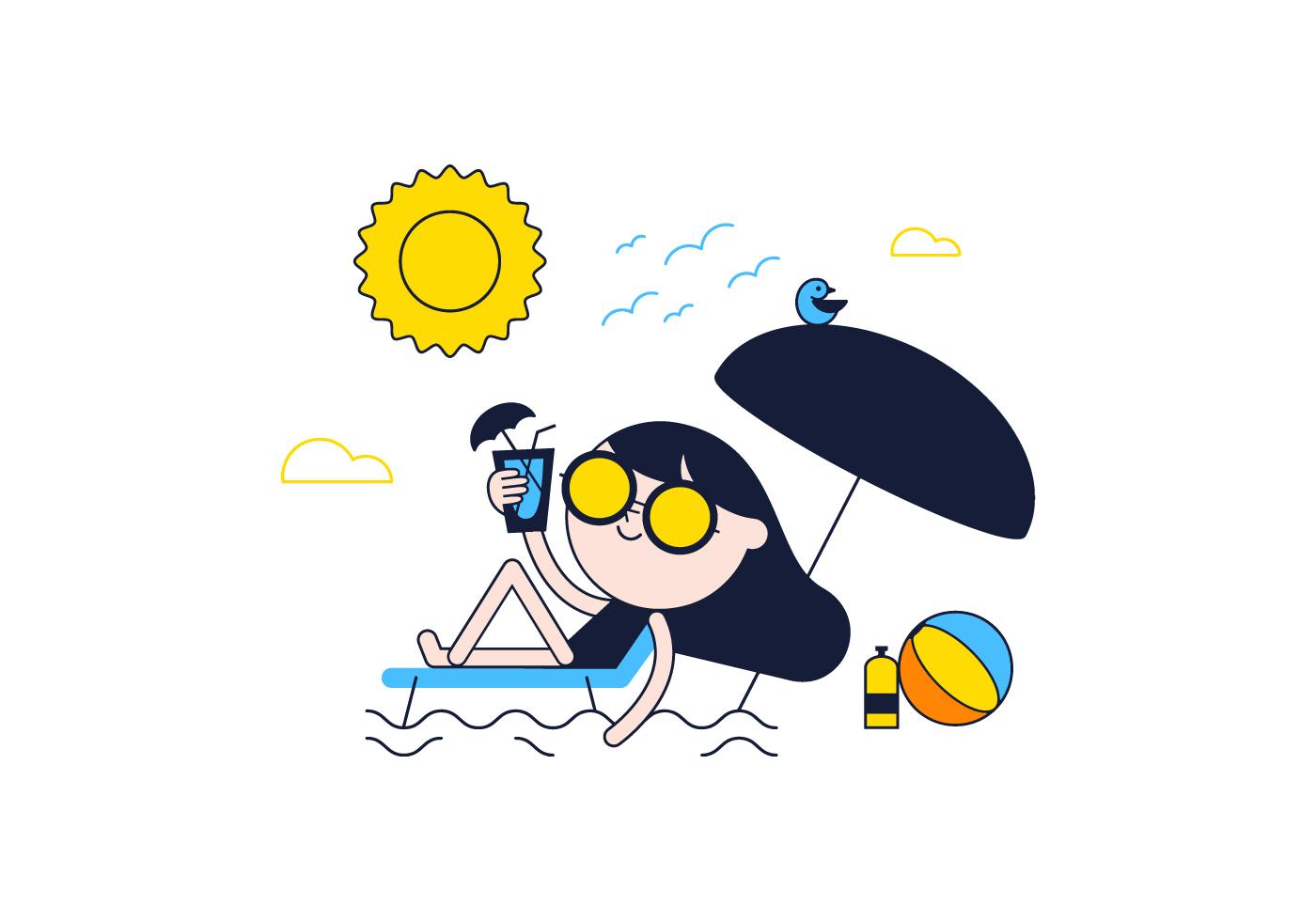Sunbathing Free Vector Art 12681 Free Downloads