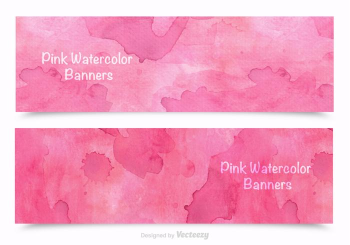 Free Pink Watercolor Banners Vector