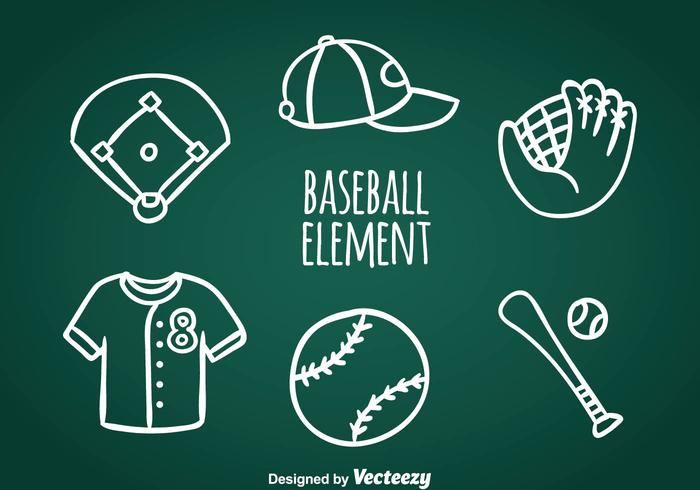 Baseball Doodle Icons Vector